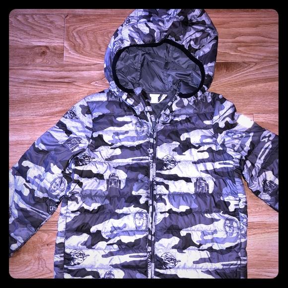 ec7b7555a2f9c GAP Kids Jackets & Coats | Star Wars Grey Camo Print Jacket Boys Xs ...